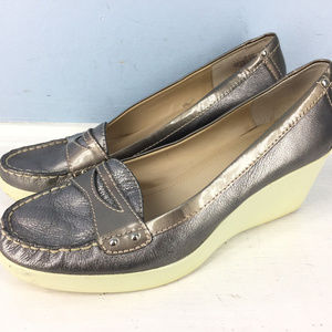Easy Spirit 7 M Eleat Silver Peweter Wedge loafer